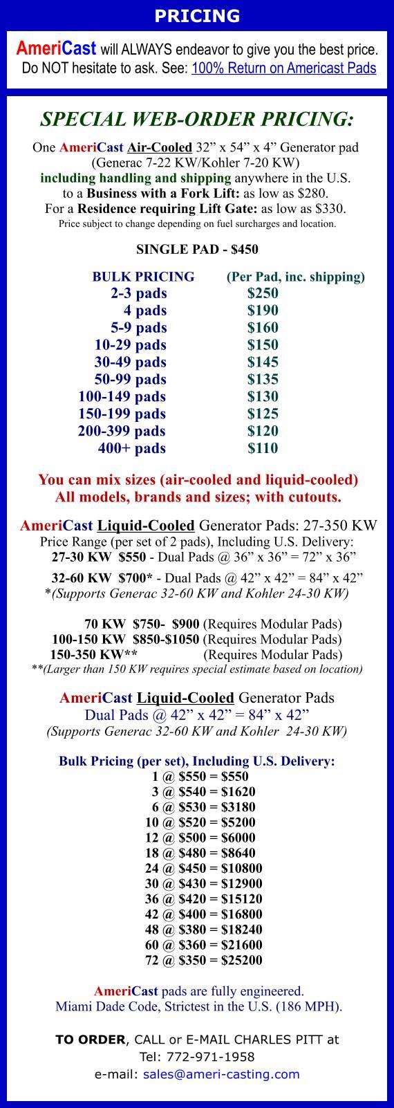 AmeriCast Generator Pad Pricing 9-2018