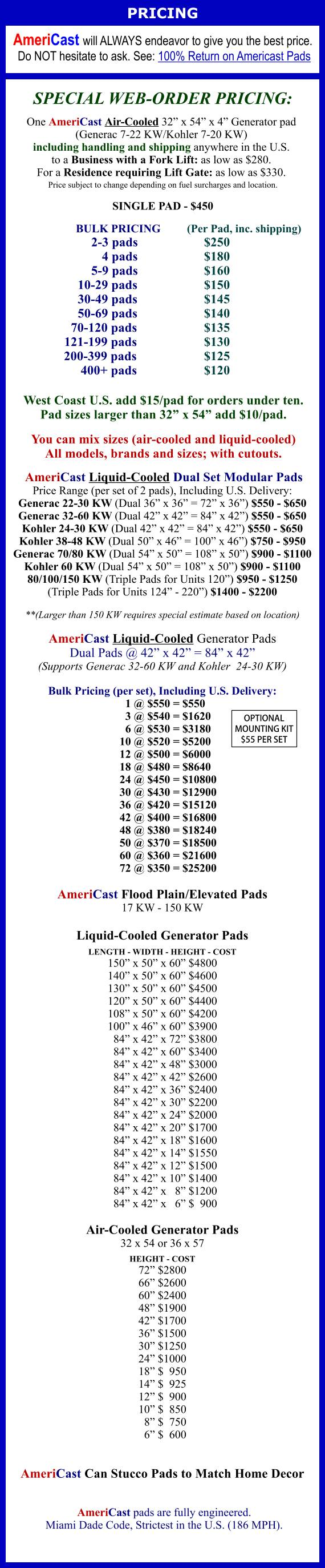 AmeriCast Generator Pad Pricing 1-2020